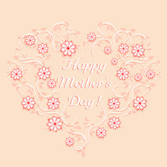 Happy mother's day template. Floral heart. Vector, EPS 10