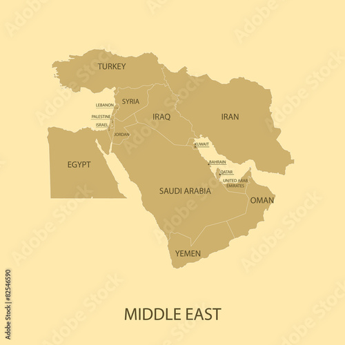 Middle East Map with country name Stock image and royaltyfree
