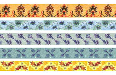 Drawing color seamless border. Decorative pattern ornament
