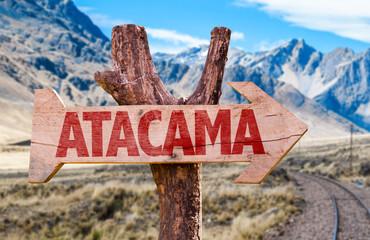 Atacama wooden sign with Cordillera background