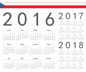 Set of Czech 2016, 2017, 2018 year vector calendars