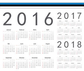 Set of Estonian 2016, 2017, 2018 year vector calendars
