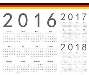 Set of German 2016, 2017, 2018 year vector calendars