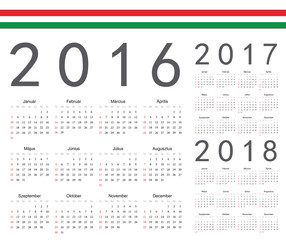 Set of Hungarian 2016, 2017, 2018 year vector calendars