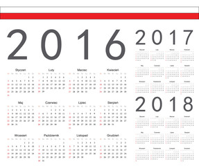 Set of Polish 2016, 2017, 2018 year vector calendars