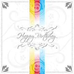 Happy birthday vector illustration with floral ornate lines