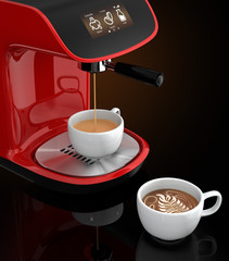Espresso coffee machine with touch screen