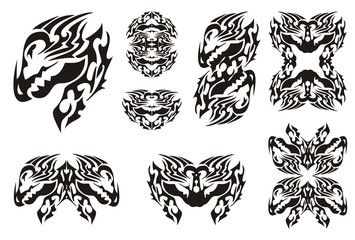 Horned dragon set in tribal style