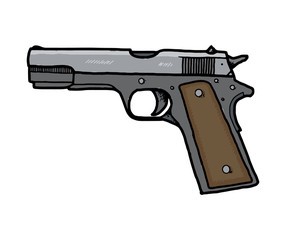 Pistol, hand drawn, isolated on white background. EPS8.