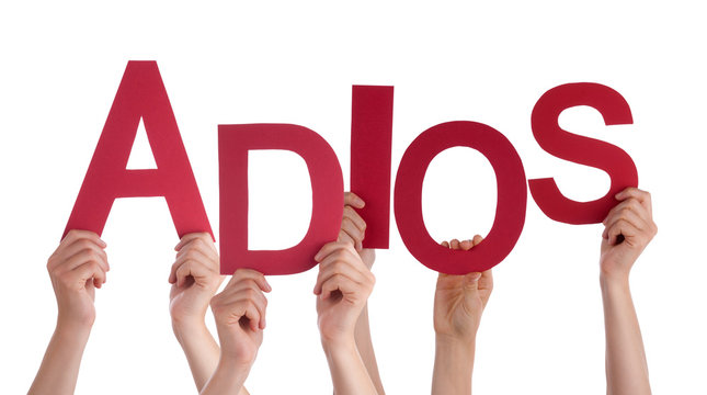 People Holding Spanish Word Adios Means Goodbye