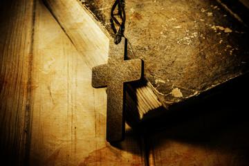 Closeup of wooden Christian cross