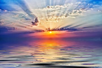 Foto op Canvas Zee zonsondergang sunrise in the sea