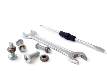 s Screwdriver wrench bolts and screws on a white background
