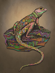 Ornate lizard with ethnic pattern. Rich colored reptile.