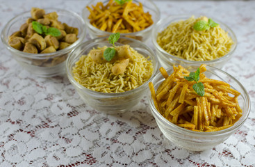 assorted fried snacks popular in India