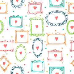 Romantic seamless pattern with colorful frames and hearts