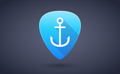 Blue guitar pick icon with an anchor