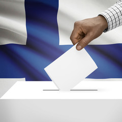 Ballot box with national flag on background series - Finland
