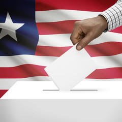 Ballot box with national flag on background series - Liberia