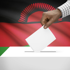 Ballot box with national flag on background series - Malawi