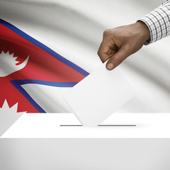 Ballot box with national flag on background series - Nepal