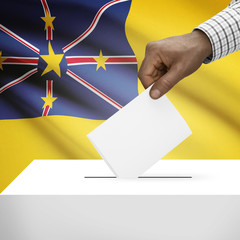 Ballot box with national flag on background series - Niue