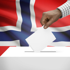Ballot box with national flag on background series - Norway