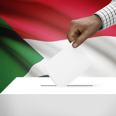 Ballot box with national flag on background series - Sudan