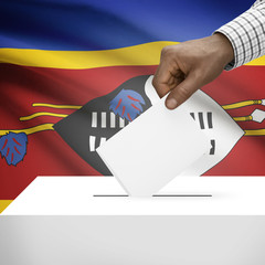 Ballot box with national flag on background series - Swaziland