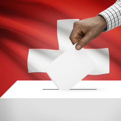 Ballot box with national flag on background series - Switzerland