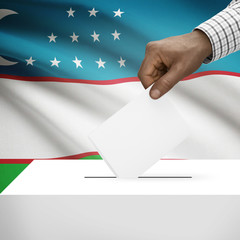 Ballot box with national flag on background series - Uzbekistan