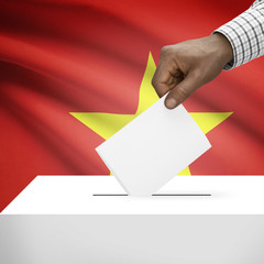 Ballot box with national flag on background series - Vietnam