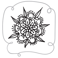 Hand drawing zentangle element with decorative frame