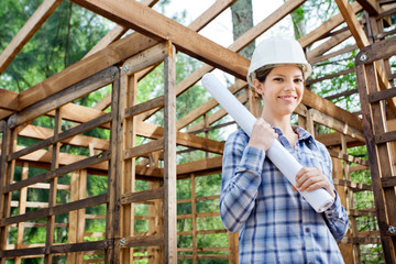 Beautiful Architect Holding Blueprint In Wooden Cabin
