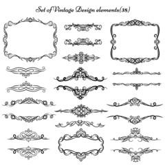 Decorative vintage elements and frames