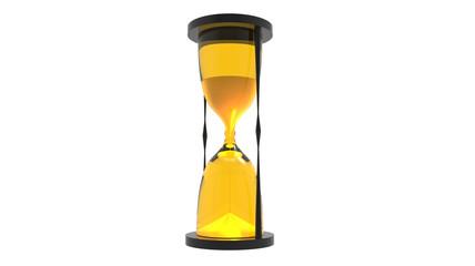 hourglass render in yellow tones