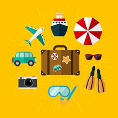 Set of illustrations on vacation.