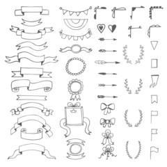 Set of hand drawn decorative elements. Wedding design elements