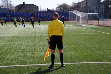 Linesman with flag  on the football field