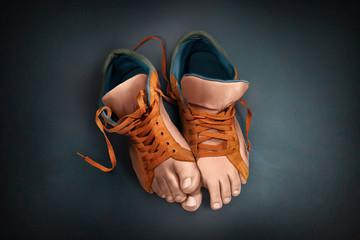 Fototapeta Unusual shoes. Sneakers legs. obraz
