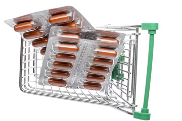 Shop cart with brown capsules blisters