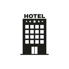 The Hotel icon. Travel symbol. Flat