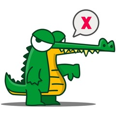 Cute Green Crocodile with large eyes cartoon set