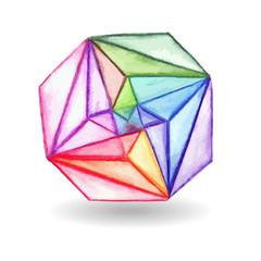 Vector  Watercolor Geometric Design Element