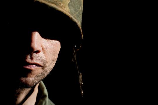 Vietnam War US Soldier In Shadow