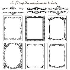 Set of Vintage decorative elements and frames