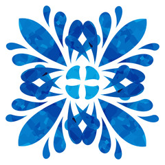 Watercolour pattern - Blue abstract flower
