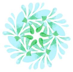 Watercolour pattern - Blue green abstract flower