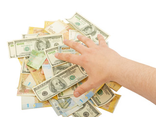 Hand over a pile of money