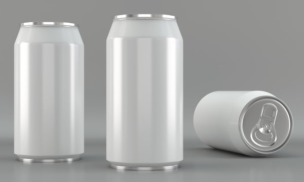 White beverage can mockups on bright background